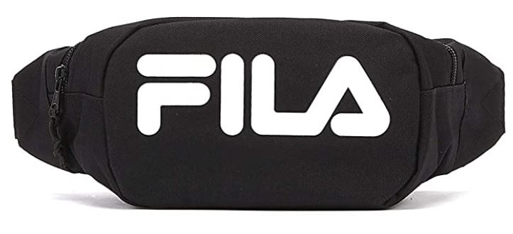 sac banane Fila noire avec inscription Fila blanche composee polyester