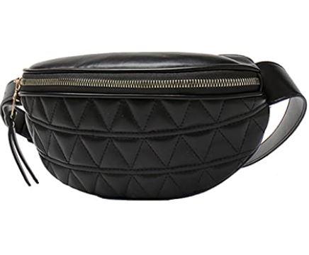 sac banane de ceinture feminin en cuir noir marque Vohoney