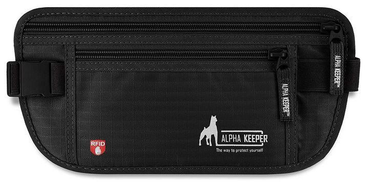 sac banane de voyage tres fin noir avec protection anti RFID dAlpha Keeper