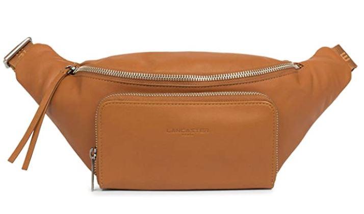 sac banane feminin en cuir marron clair avec double compartiments de la marque Lancaster