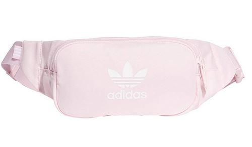 sac banane pour femme de couleur rose de la marque Adidas avec logo et inscription adidas en blanc