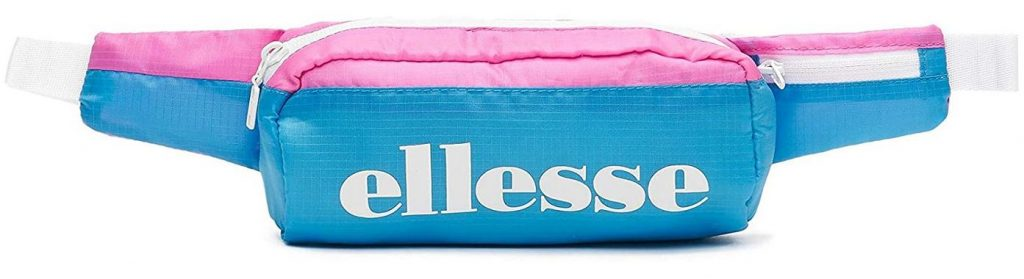 sac banane pour fille bleu clair et rose avec inscription blanche de la marque Ellesse