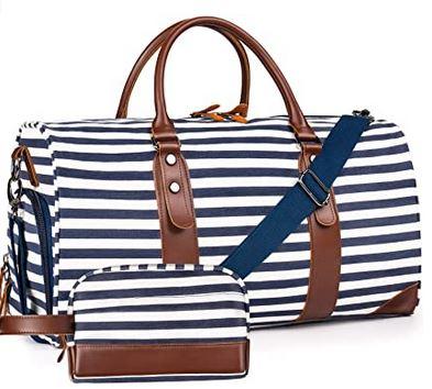 sac de voyage feminin en toile avec compartiment a chaussure et trousse de toilette incluse