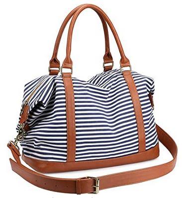 sac de voyage pour femme Losmile au design marin a rayures bleues et blanches avec poignees en cuir marron