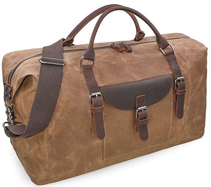 sac de voyage retro en cuir marron clair avec poignees marron foncees