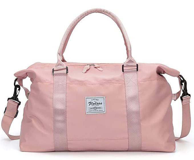 sac de voyage rose pas cher pour femme fait de nylon resistant