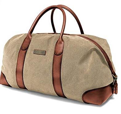 sac de week end destine aux hommes modele duffel weekender de la marque Drakensberg et couleur kaki marron avec effet vintage en cuir