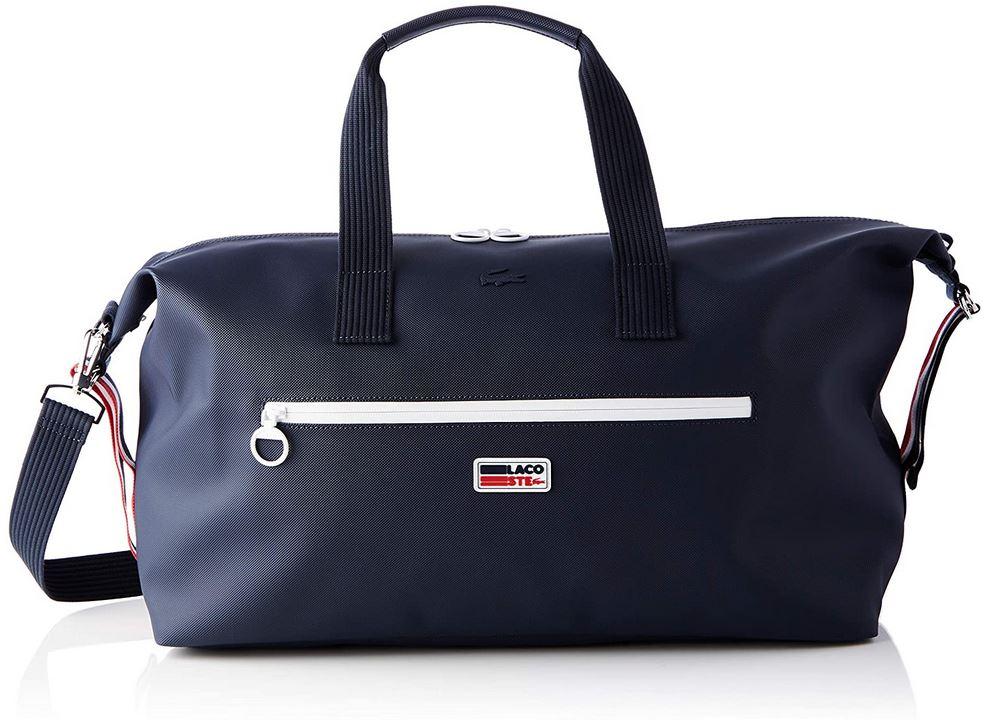 sac de week end pour homme Lacoste NH3300 weekender de couleur bleu blanc et rouge