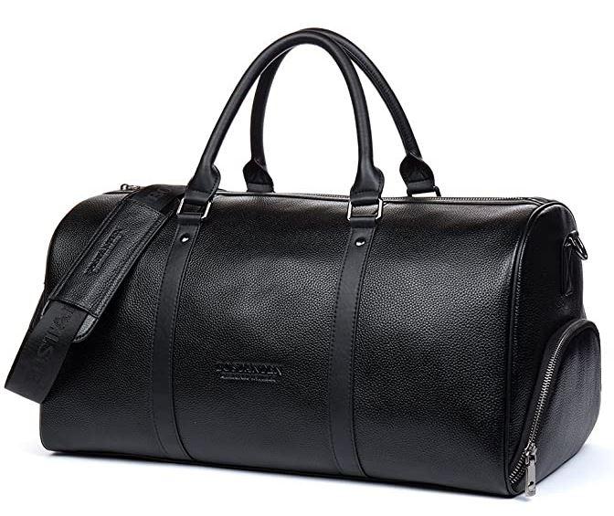 sac de weekend entierement fait de cuir noir de la marque Bostanten avec espace separe pour y ranger les chaussures