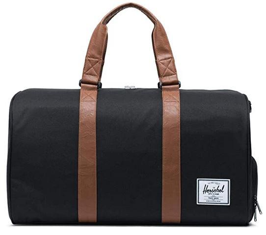 sac de weekend masculin de la marque Herschel avec poignees en cuir marron clair