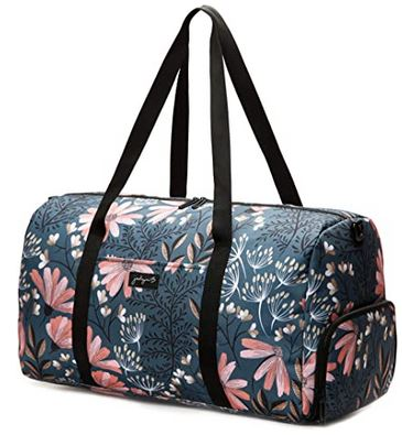 sac pour voyager feminin Jadyn B weekender avec son design floral et sa poche de rangement a chaussure