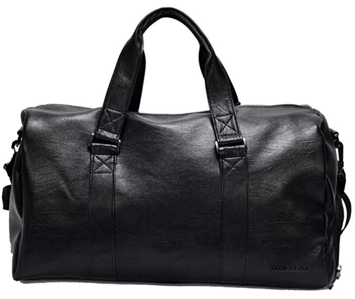 sac pour voyager pour homme entierement en cuir noir de la marque Whcreat