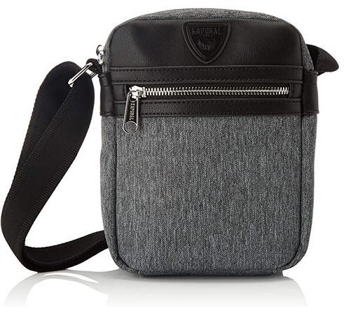 sacoche Kaporal en tissu gris et cuir noir destinee aux hommes