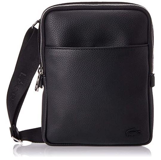 sacoche Lacoste en cuir pour homme modele Nh2839gl noir