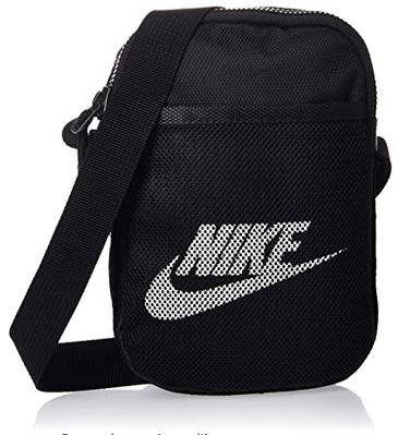 sacoche Nike Heritage S Smit noir avec logo blanc et pochette type filet sur lexterieur