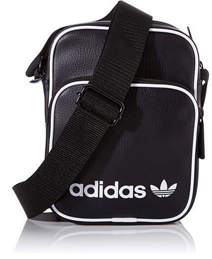 sacoche adidas noire et blanche en cuir synthetique et polyurethane modele Mini Bag Vint