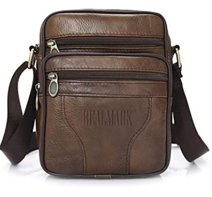 sacoche en cuir de vache marron pour homme de la marque Realmark avec partie interieure en polyester