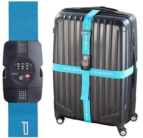 sangle de securite pour valise avec systeme de fermeture et douverture a code et a clef