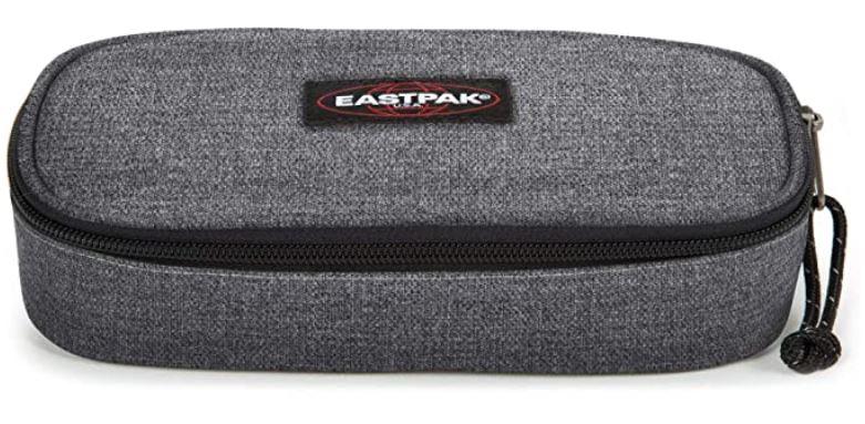 trousse decole pour fille Eastpak modele oval Single gris black denim de 22cm avec compartiment superieur sur le dessus