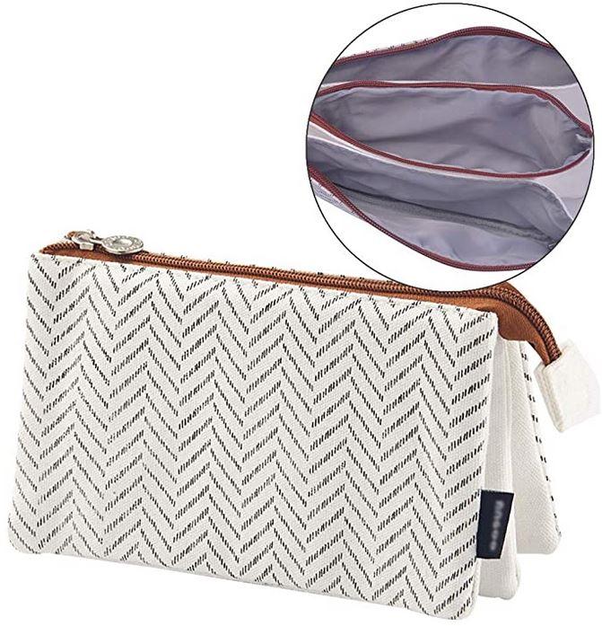 trousse feminine en tissu blanc et gris de la marque iSuperb avec 3 compartiments separes