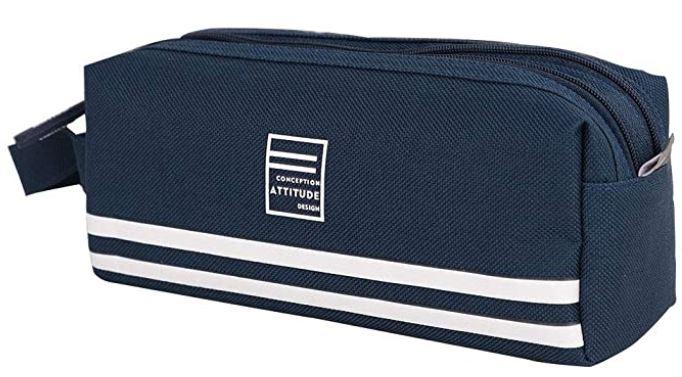 trousse pour lecole Oxford marque Jintn bleue et blanche au style marin