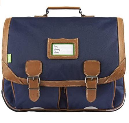 cartable Tanns pour garcon Les Unis OSLO modele 41 bleu marine avec les contours en cuir marron et deux poches frontales sous le rabat
