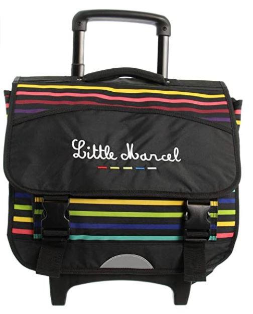 cartable a roulette de la marque Little Marcel noir avec des bandes multicolors