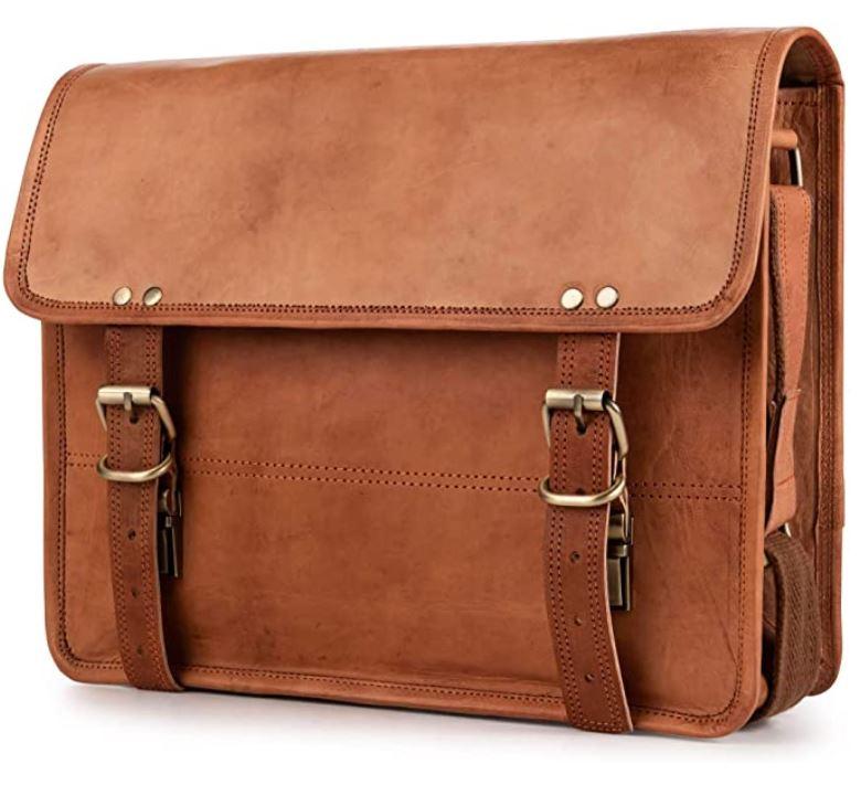 cartable berliner bags en cuir marron pour homme