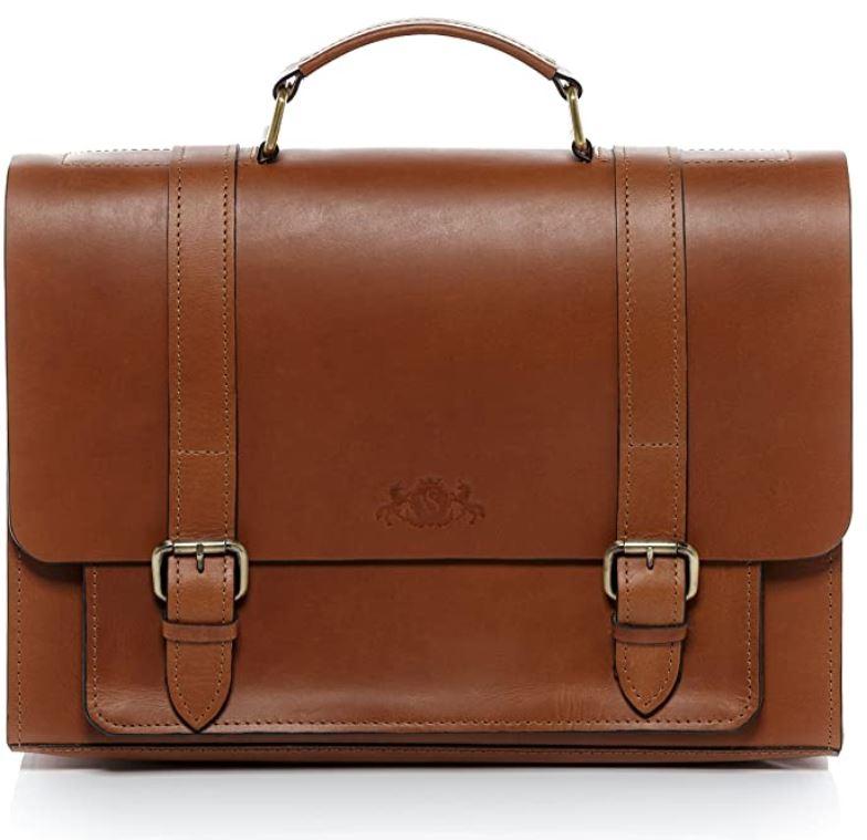 cartable business masculin en cuir marron lisse avec double fermeture a boucle de la marque Sid Vain