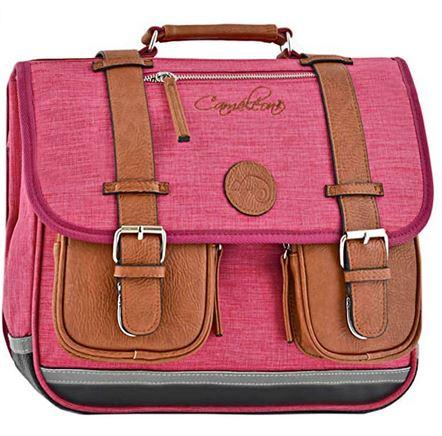 cartable de fille decole primaire de la marque Cameleon en tissu rose avec les poches et les sangles en cuir marron vintage