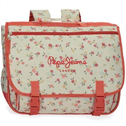 cartable de primaire pour fille de beige rose orange avec des motifs a fleur de la marque Pepe Jeans