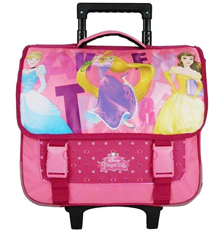 cartable decole Disney Princesse rose avec des roulettes destine aux filles