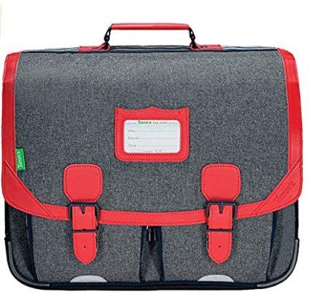 cartable garcon les chines Max gris et rouge de la marque Tanns pour lecole primaire