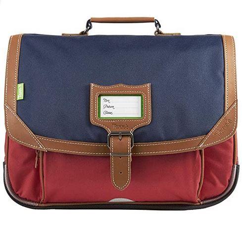 cartable garcon marque Tanns modele Les Bicolores Amsterdam de couleur bleu et terracotta avec des bandes de cuir marron