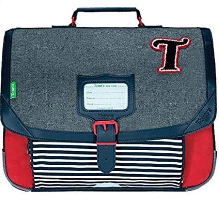 cartable garcon rouge bleu et gris les chines de la marque Tanns