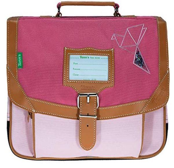 cartable pour fille de primaire de la marque Tanns modele rose avec oiseau brode en forme triangulaire