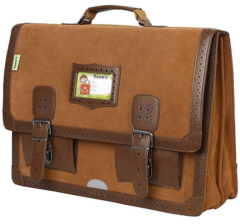 cartable pour garcon de primaire Tanns en daim et cuir marron fonce avec double boucle sangle de ceinture modele ajoure fauve