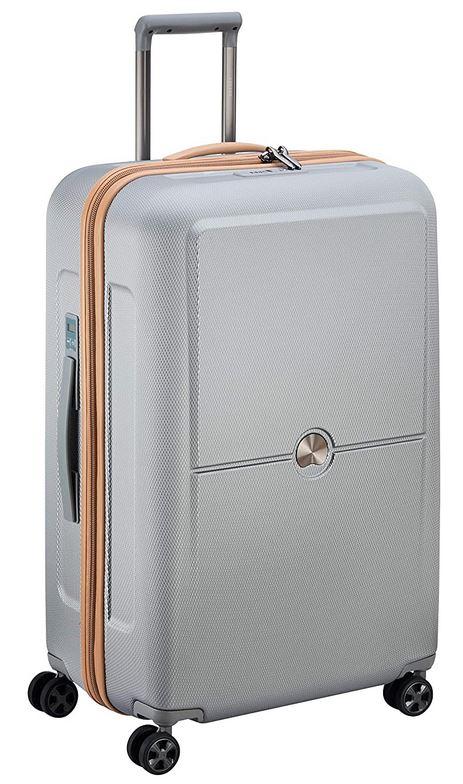 grande valise Delsey Paris Turenne Premium de couleur argente mesurant 75cm de long avec contenance maximum de 93.5 litres