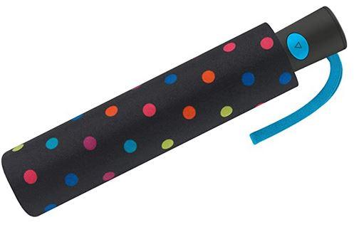 mini parapluie automatique feminin de la marque United Colors of Benetton noir avec des points de multicolors