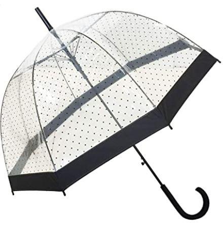parapluie a cloche destine aux femmes totalement transparent avec des motifs a pois noirs