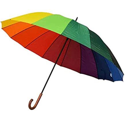 parapluie canne pour femme couleur arc en ciel de taille XXL pour deux personnes avec un diametre de 130 cm marque Le monde du parapluie