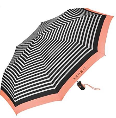 parapluie de poche bleu blanc et rose Easymatic Light E Motional Stripes pour femme de la marque Esprit