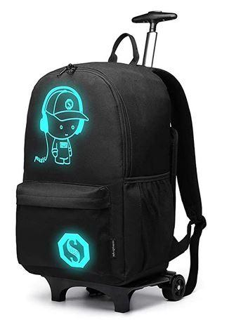 sac a dos Kono noir grande capacite avec roulette et trolley pour soulager le dos des ecoliers
