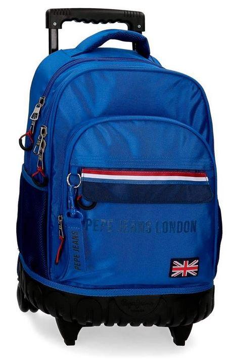 sac a dos cartable a roulette Pepe Jeans bleu clair avec une capacite de 30 litres pour garcon