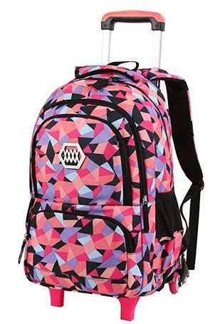 sac a dos cartable a roulette destine aux filles de color rose orange et violet pale