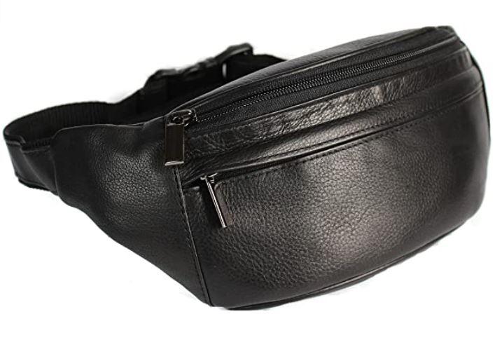 sac banane masculin en cuir lisse noir avec plusieurs compartiments de la marque Christian Wippermann