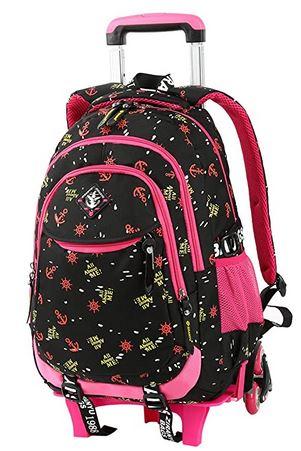 sac cartable a roulette pour fille de primaire de la marque vbiger noir et rose