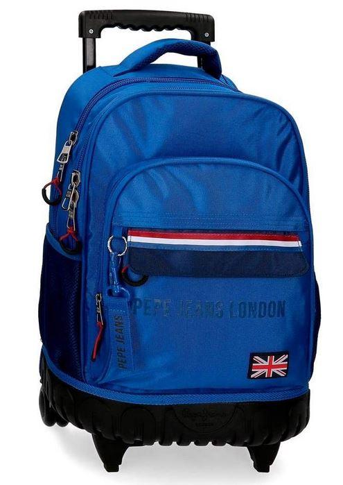 sac cartable a roulette pour garcon Pepe Jeans London de couleur bleu