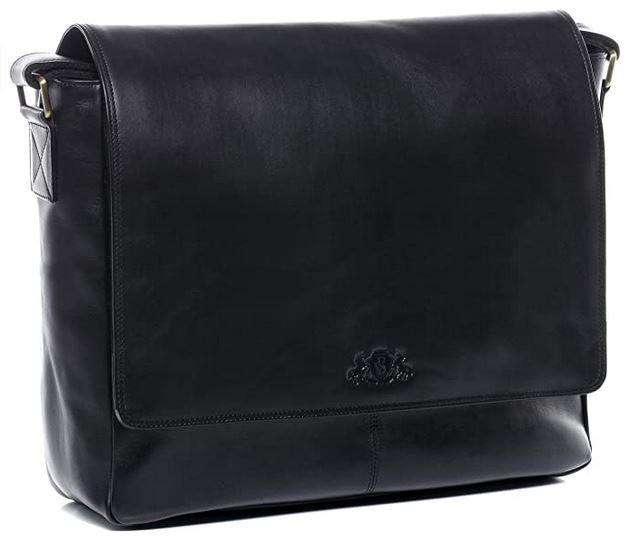 sac cartable pour homme en cuir noir lisse de la marque Sid Vain pouvant accueillir un pc portable de 15.4 pouces maximum