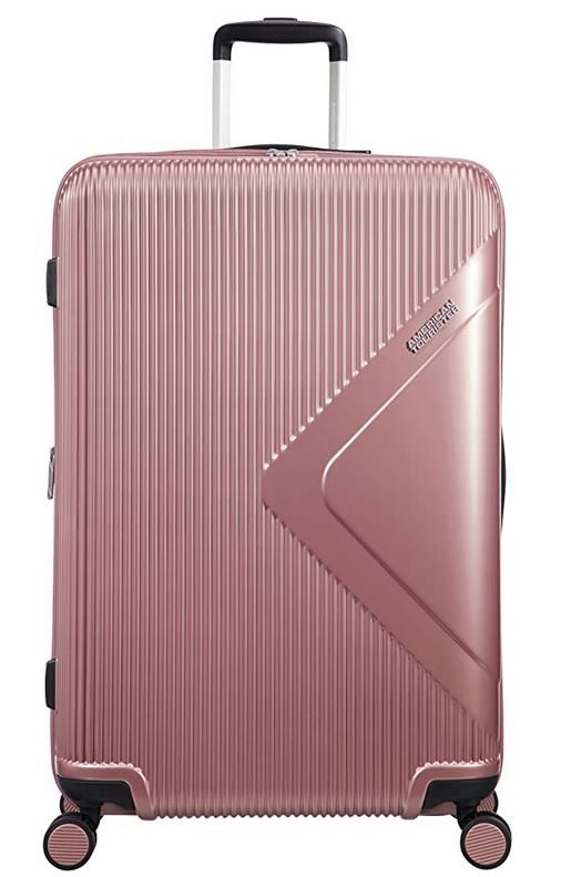 valise rose gold taille L du fabricant American Tourister avec capacite de 100 L